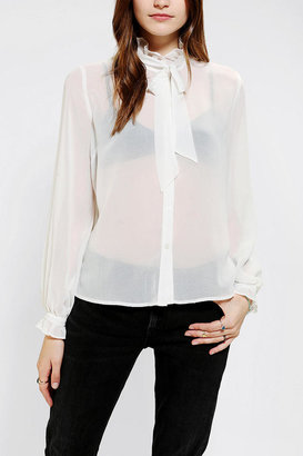 Urban Outfitters Pins And Needles Ruffled Tie-Neck Blouse