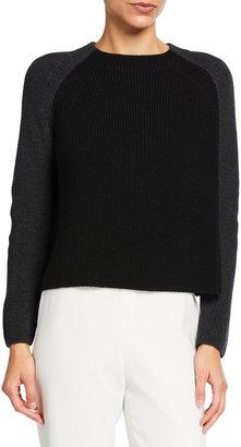 Eileen Fisher Petite Colorblock Raglan-Sleeve Wool Sweater