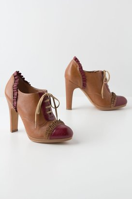Anthropologie Bordeaux-Ruffled Oxford Heels