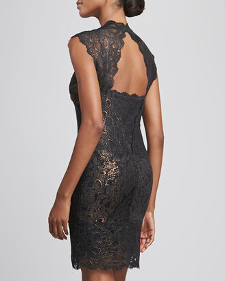 Nicole Miller Square-Neck Open-Back Lace Cocktail Dress
