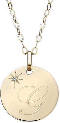 Macy's 14k Gold Necklace, G Initial Diamond Accent Disc Pendant