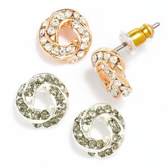 Lauren Conrad Two Tone Simulated Crystal Love Knot Button Stud Earring Set