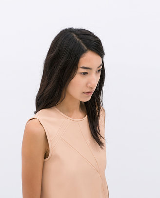 Zara Combined Faux Leather Top