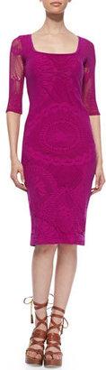 Jean Paul Gaultier 3/4-Sleeve Lace Sheath Dress, Magenta