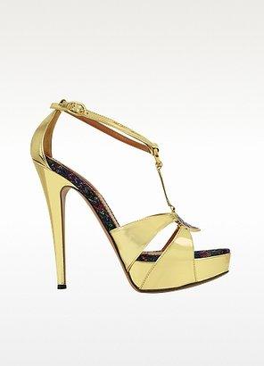 Missoni Gold Leather Platform Sandal