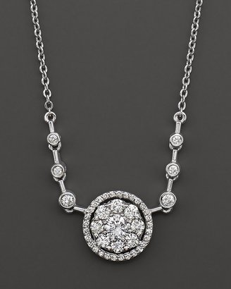 Bloomingdale's Diamond Flower Cluster Pendant Necklace in 14 Kt. White Gold, 1.10 ct. t.w.