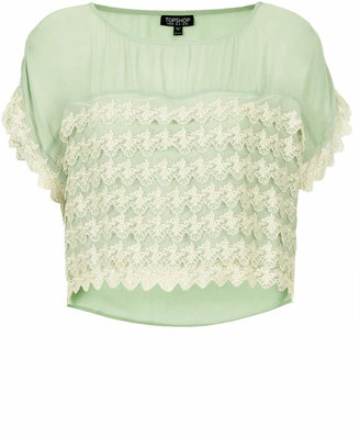 Topshop Sage lace tiered top