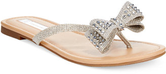 INC International Concepts Malissa Rhinestone Bow Flat Sandals, Only at Macy's $49.50 thestylecure.com