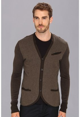 John Varvatos Collection - Reversed Woven Sweater Jacket (Deep Olive) - Apparel