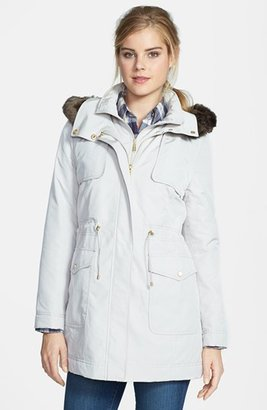 Ellen Tracy Faux Fur Trim Hooded Anorak (Online Only)