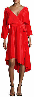Diane von Furstenberg Asymmetrical Self-Tie Silk Dress