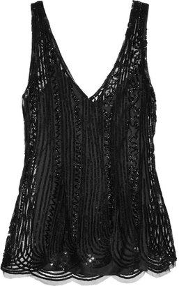 Alberta Ferretti Sequin-embellished tulle top