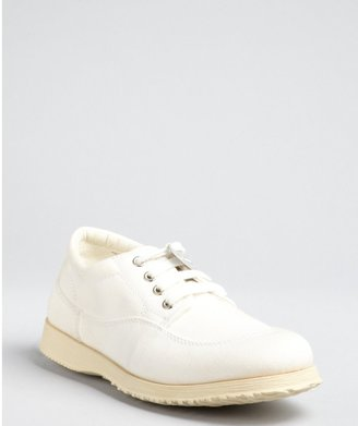 Hogan Ivory Canvas Lace-Up Sneakers