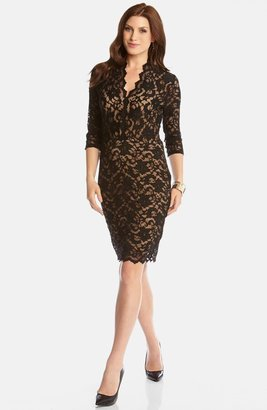 Karen Kane Scalloped Lace Cocktail Dress