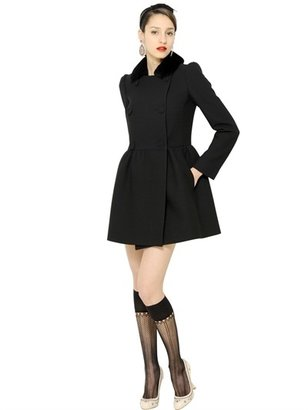 RED Valentino Mink Fur Wool Blend Thick Crepe Coat