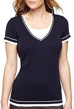 JCPenney Made For Life Layered Short-Sleeve V-Neck Tee