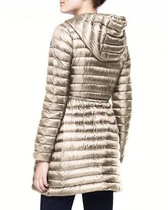Moncler Long Puffer Drawstring Coat, Stone