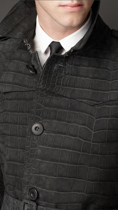 Burberry Mid-Length Alligator Leather Trench Coat