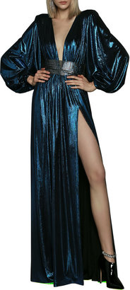 Bronx and Banco Plunge-Neck Balloon-Sleeve Lame Gown