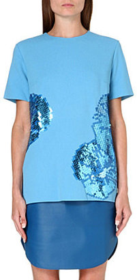 Richard Nicoll Sequin-embroidered pleat top