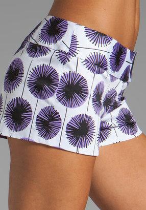 Milly Pinwheel Flowers Print on Stretch Cotton Tab Shorts