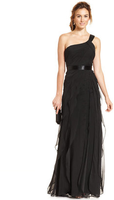 Adrianna Papell One-Shoulder Tiered Chiffon Gown $199 thestylecure.com