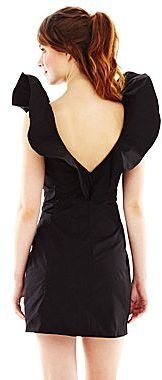 Marchesa Pearl Georgina Chapman of Ruffle-Shoulder Taffeta Dress