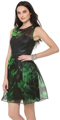 Milly Leather Bustier Party Dress