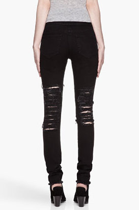 Christopher Kane Black shredded and Frayed Jeans