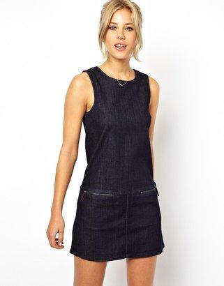 Asos Denim Shift Dress with Zip Detail in Deep Indigo - Blue