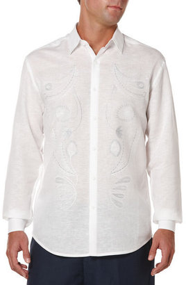 Cubavera Slim Fit Long Sleeve Fancy Embroidered Shirt