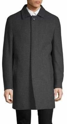 DKNY Textured Long-Sleeve Coat