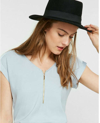 Express Silky Zip Front Rolled Sleeve Blouse $39.90 thestylecure.com