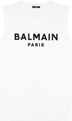 Balmain White Logo-print Cotton Tank