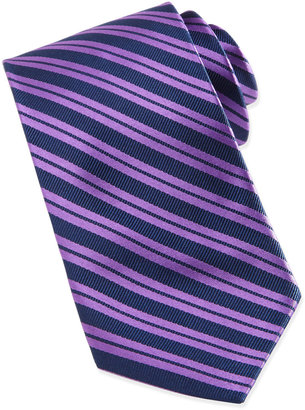 Neiman Marcus Bias Variegated Stripe Silk Tie in Box, Purple