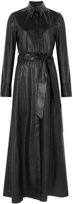 Nanushka Asyo Black Faux-leather Shirt Dress