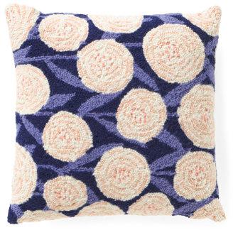 18x18 Hand Hooked Wool Garden Pillow