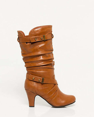Le Château Faux Leather Mid Calf Ruched Boot