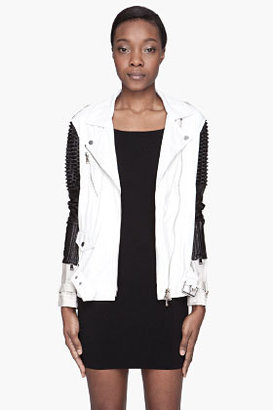 3.1 Phillip Lim White two-tone leather Trifecta Studded Biker Jacket