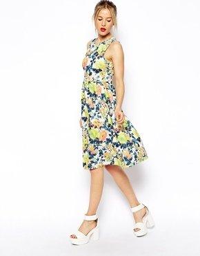 Asos Midi Dress in Floral Textured