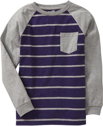 Old Navy Boys Striped-Raglan Pocket Tees