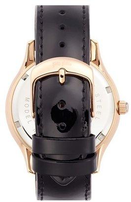 Folli Follie 'Stardust' Crystal Detail Leather Strap Watch, 42mm