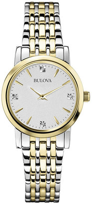 Bulova Womens Diamond-Accent Two-Tone Watch 98P115 $224.25 thestylecure.com