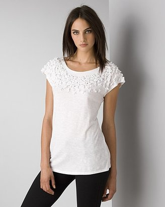 Rebecca Taylor Women's Cotton T-Shirt with Petals