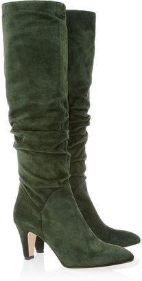 Brian Atwood Berton ruched suede knee boots
