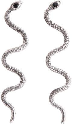 Fallon Cleo Snake Earrings - ox silver/black
