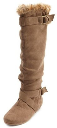 Charlotte Russe Fur-Trim Double Buckle Boot