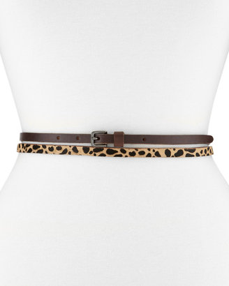 Linea Pelle Leopard-Print Calf Hair & Leather Double-Wrap Skinny Belt