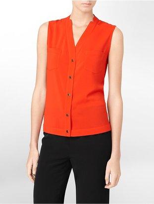 Calvin Klein Sleeveless Button Front V-Neck Top