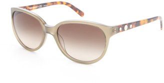 Tory Burch Green And Tortoise Print Acrylic Round Sunglasses